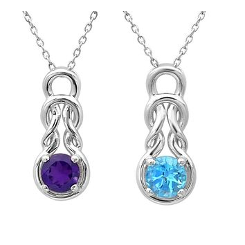 Gemstone Love Knot Pendant Necklace in Sterling Silver 18 inch Chain
