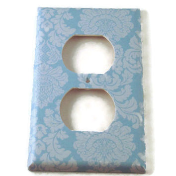 Outlet Light Switch Cover Wall Decor Switchplate Switch Plate in  Baby Blue Damask  (194O)