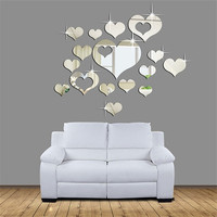 3D Removable Heart Art Decor Wall Stickers Living Room Decorations Decals  W_C (Color: Silver) [7862563015]