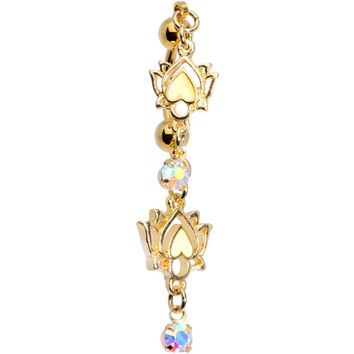 Aurora Gem Gold PVD Peaceful Lotus Flower Dangle Top Mount Belly Ring