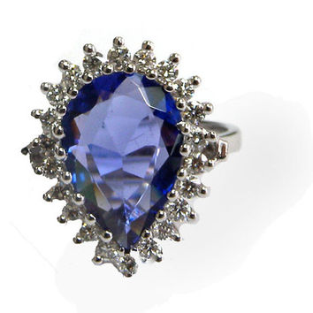 Tanzanite Engagement Ring, 14K White Gold, Pear shape Tanzanite, 3 carat, Royal Blue, Diana Ring
