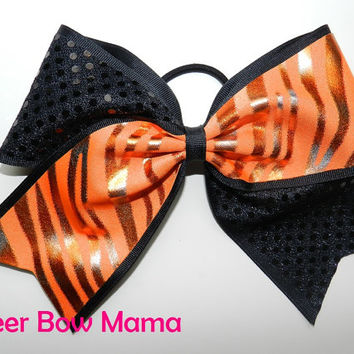 Black and Orange Zebra Cheer Bow