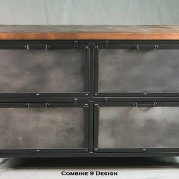 Industrial File Cabinet with Storage. Vintage industrial style furniture. Modern. Steel and reclaimed wood. Industrial printer stand