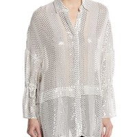 Sally Lapointe Sequin-Striped Tie-Sleeve Blouse