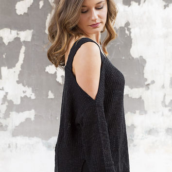 Cold Shoulder Black Sweater