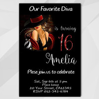 16th Birthday invitation, Chalkboard Diva Birthday Invitation, 13th 18th 21st 30th 40th, Custom Birthday etsy invite A006-4