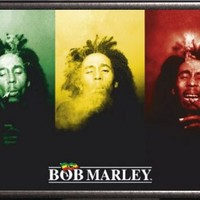 Framed Bob Marley (3 Faces, Smoking) 36x24 Poster In Silver Finish Wood Frame Music Art Print