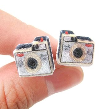 Illustrated Antique Camera Shaped Stud Earrings | Handmade Shrink Plastic