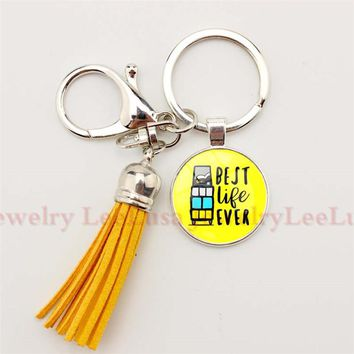 "JW Org Key Chain "" The Best Life Ever ""  Jehovah's Witnesses Pendant Glass Photo Cabochon Keychain Tassel Keychain Sleutelhanger"
