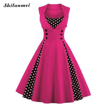 Plus Size Dresses for women 4xl 5xl 6xl Retro 50s 60s Vintage Dress Polka Dot Patchwork Summer Rockabilly Swing Party Pink Dress