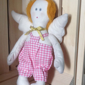 Textile Doll with angel wings,Tilda, stuffed toy,plush handmade toys,Daughter gift,soft toy,high quality fabric,children birthday,home decor