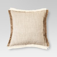 "Cream Fringe Throw Pillow (18""x18"") - Threshold™"