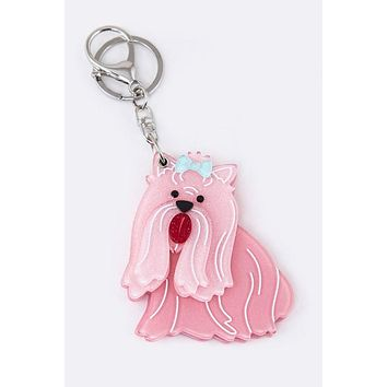 My Best Friend Collie Mirror Key Chain Charm Pink
