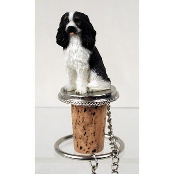 Cavalier King Charles Spaniel Black/White Wine Bottle Stopper DTB80B