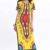 Yellow Short Sleeve Vintage Bohemian Print Maxi Dress