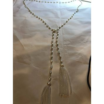 Nemesis hand wrapped white pearl tassel lariat necklace