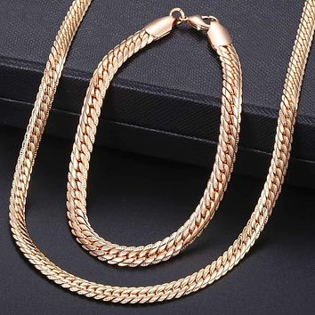 Jewelry Set For Women 585 Rose Gold Bracelet Necklace Set Hammered Herringbone Snake Chain Dropshipping Woman Jewelry 2018 KCS02 Macchar Cosplay Catalogue