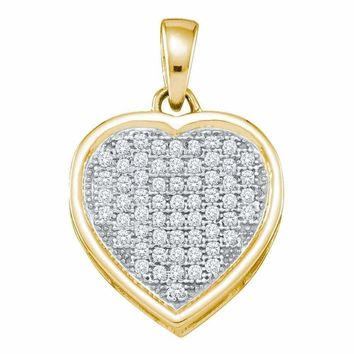 10kt Yellow Gold Women's Round Diamond Small Simple Heart Love Pendant 1-5 Cttw - FREE Shipping (US/CAN)