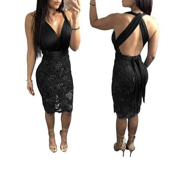 Deep V-neck Backless Straps Cross Women Lace Knee-length Dress
