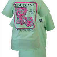 Southern Couture Louisiana Preppy Paisley State Pattern Pelican State Girlie Bright T Shirt