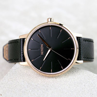 Nixon Kensington Leather Rose Gold and Black Watch