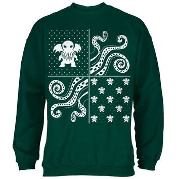 Chenier Cthulhu Lovecraft Dimensions Ugly Christmas Sweater Forest Green Adult Sweatshirt