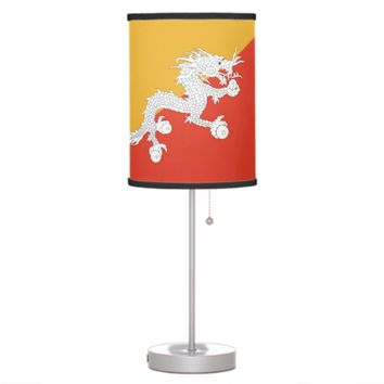 Patriotic table lamp with Flag of Bhutan