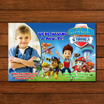 Paw Patrol Running Party Invitation