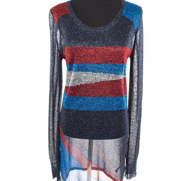 Metallic Navy, Blue, Red and Silver Stretch Dress