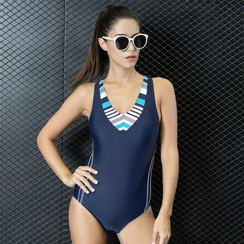 Women Swimming Sports Suit Patchwork Adjusted One Piece Swimsuit Tankini Beach Bathing Swim Suits Set Push Up Slim Swimwear 7724