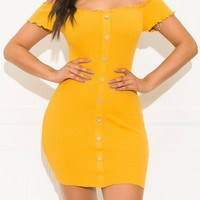 Beyond Basic Mini Dress Mustard