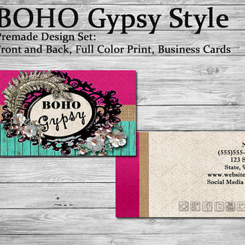 BOHO Gypsy Style | Standard Business Card | 3.5 x 2 inch | Matte or Glossy | Thick 110 lb stock | Double Side Print | Full Color