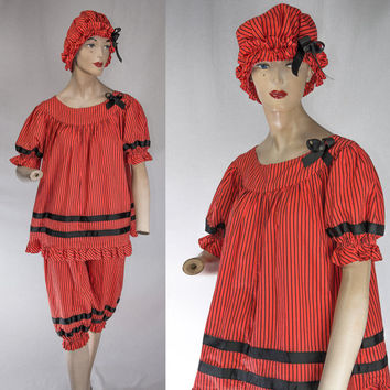 Vintage Old Fashioned Bathing Suit Costume Red Striped Tim Burton Pin-up Top Bloomers & Cap Set
