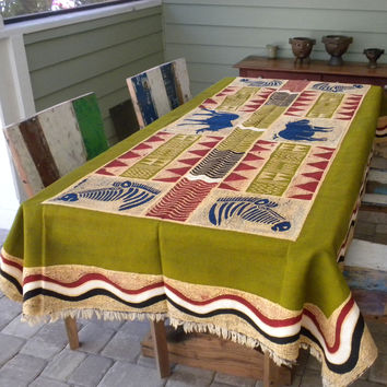 Hand Painted Table Cloth 92 inches by 56 inches - Tonga Textiles