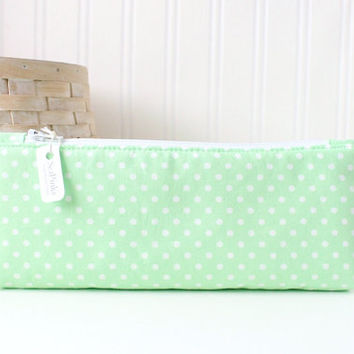 Mint Green Polka Dot Pencil Case Mint Pencil Case Pastel Green Pencil Pouch