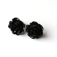 BLACK ROSE Earrings - Resin rose cabochon post earrings - Shabby chic flower stud earrings - Bridesmaid earrings - Bridal Earrings