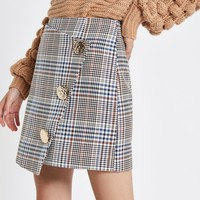 Brown check button wrap mini skirt - Mini Skirts - Skirts - women