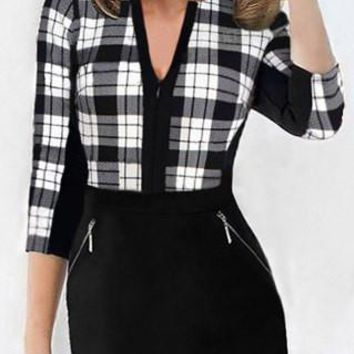 Black Plaid Zip Design Bodycon Dress