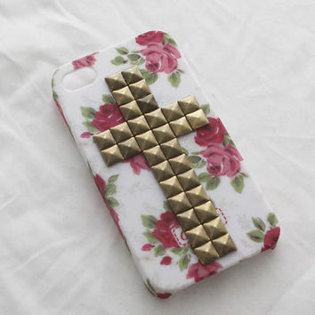 Durable flower  crossiphone case Iphone 4  case iphone 4s case - cross stud rivet flower phone case iphone case