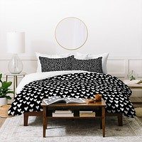 Elisabeth Fredriksson Little Hearts On Black Duvet Cover