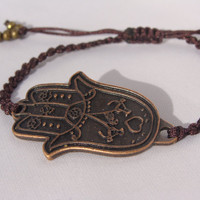 Macrame Bracelet, Hamsa hand bracelet, Brown bracelet, hippie jewelry, for her
