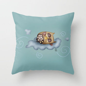 Owl {Sleepy guardian - blue} Throw Pillow by Carina Povarchik | Society6