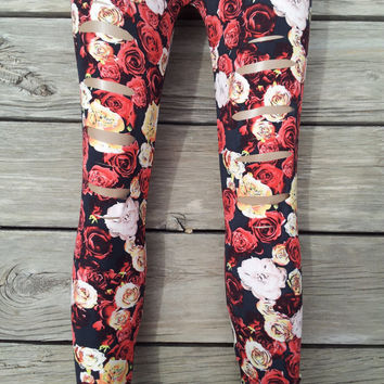 Floral Print Red Yellow And Black Leggings One Size Fits Most
