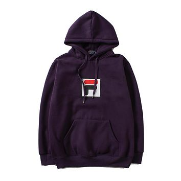 FILA autumn and winter tide brand men and women models hooded sweater Black