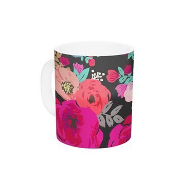 "Crystal Walen ""Sweet Pea"" - Black Floral Ceramic Coffee Mug"