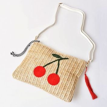 Retro Style Tan Woven & Red Embroidered Cherry Clutch