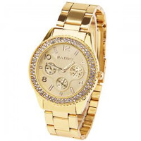 Paidu Quartz Watch with Arabic Numbers and Rectangle Indicate Steel Watch Band for Women (Golden)