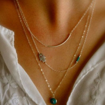Hamsa Gold Chain Necklace Turqouise