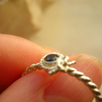 Knot Halo Sapphire Ring September Birthstone Ring Unique Engagement Ring Promise Ring - made to order in your finger size