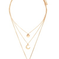 Layered Moon Pendant Necklace   Forever 21 - 1000187545